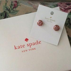 KATE SPADE rose gold glitter earrings